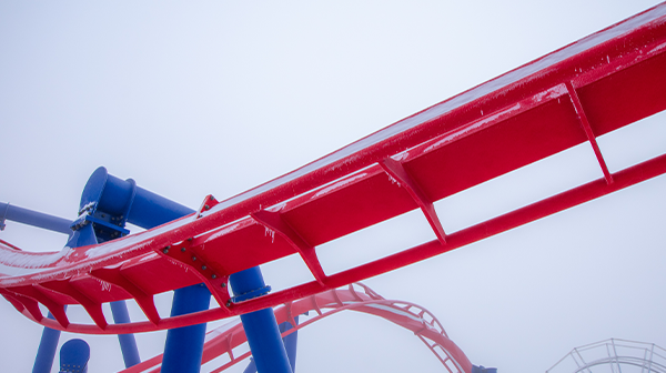 Stunning snow photography of Patriot at Worlds of Fun