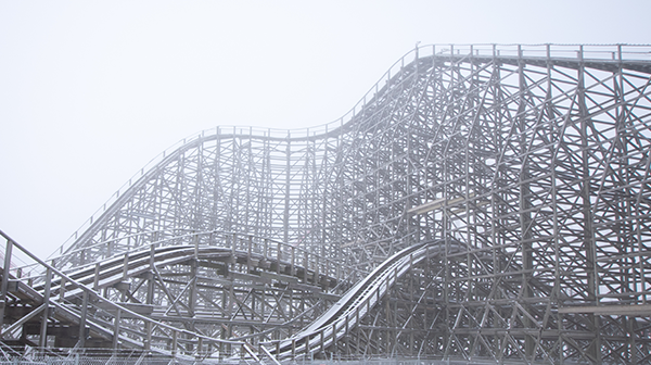 Timber Wolf Snow Photography, Kansas City attractions and roller coaster at Worlds of Fun