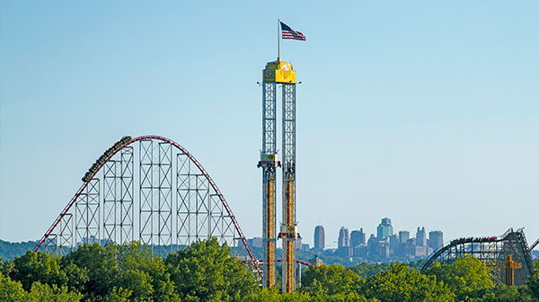 Roller Coaster Skyline of Worlds of Fun in Kansas City
