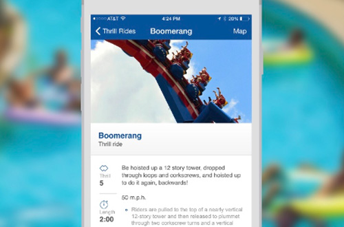 Worlds of Fun Mobile App Ride Details